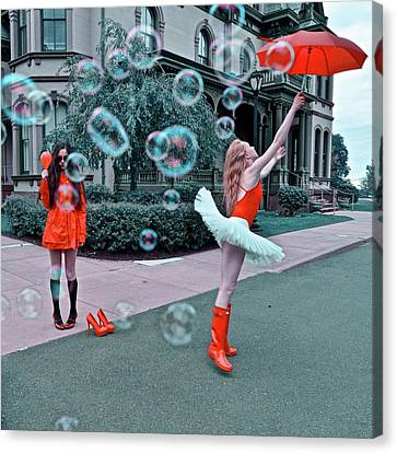 Ballerina With Mysterious Girl Canvas Print