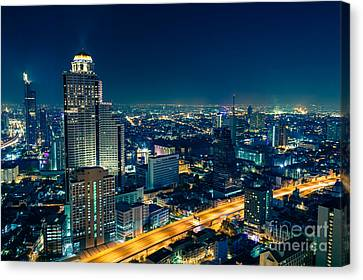 Canvas Print - Bangkok City Skyline At Night by Fototrav Print