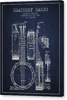 Banjo Patent Drawing From 1882 - Blue Canvas Print by Aged Pixel