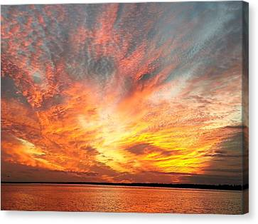 Masonboro Inlet Sunset Canvas Print by Karen Rhodes