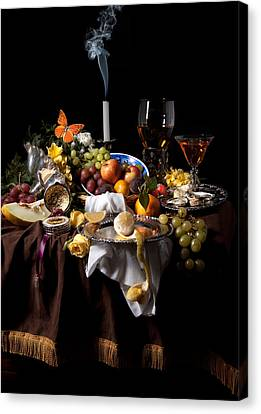 Banquet With Oysters And Fruit Canvas Print by Levin Rodriguez