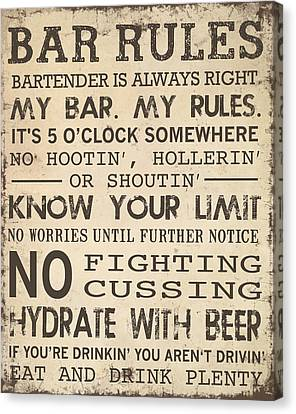 Bar Rules Canvas Print by Jaime Friedman