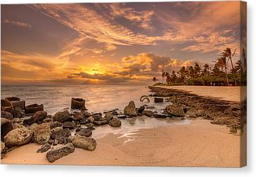 Barbers Point Light House Sunset Canvas Print