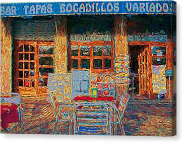 Port Town Canvas Print - Barcelona Cafe by Yury Malkov