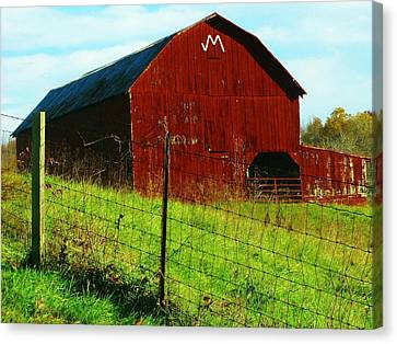 Barn With An M Canvas Print by Joyce Kimble Smith