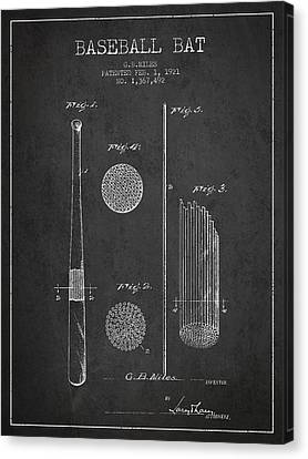 Baseball Canvas Print - Baseball Bat Patent Drawing From 1921 by Aged Pixel