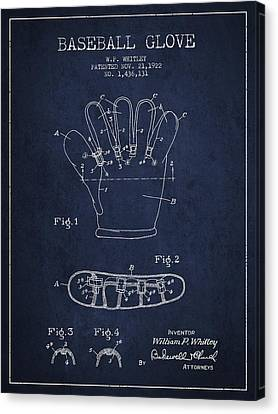 Baseball Canvas Print - Baseball Glove Patent Drawing From 1922 by Aged Pixel
