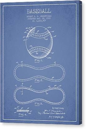 Baseball Canvas Print - Baseball Patent Drawing From 1928 by Aged Pixel