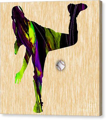 Baseball Pitcher Canvas Print by Marvin Blaine