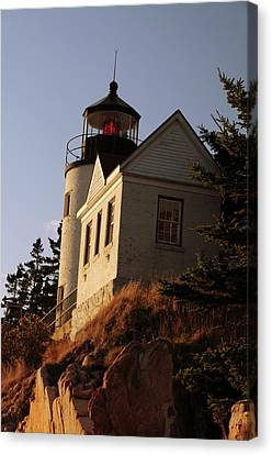 Bass Harbor Head Lighthouse In Late Canvas Print by Michel Hersen