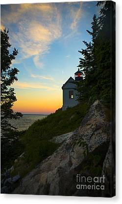 Bass Harbor Lighthouse At Sunset Canvas Print by Diane Diederich