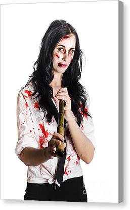 Battered Business Girl Preparing For The Worst  Canvas Print by Jorgo Photography - Wall Art Gallery