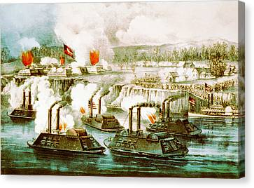 Battle Of Fort Hindman Canvas Print by Currier and Ives