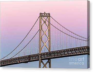 Bay Bridge Lights At Sunset Canvas Print