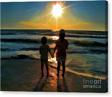 Canvas Print featuring the digital art Beach Kids by Margie Chapman
