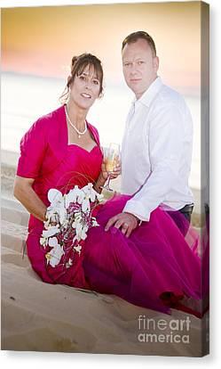 Beach Wedding Couple Canvas Print
