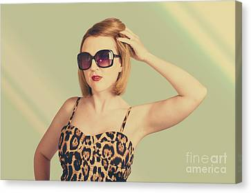 Hairstyle Canvas Print - Beautiful 80s Pinup Woman On Hairdressing Backdrop by Jorgo Photography - Wall Art Gallery