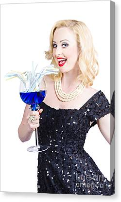 Beautiful Blonde Enjoying A Classy Cocktail Event Canvas Print by Jorgo Photography - Wall Art Gallery