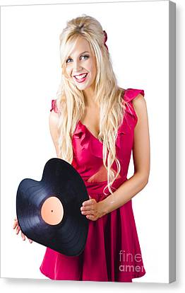 Beautiful Blonde With Heart-shaped Record Canvas Print by Jorgo Photography - Wall Art Gallery