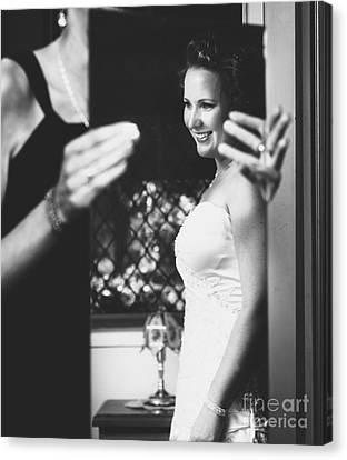 Beautiful Bride Getting Ready In Wedding Dress Canvas Print