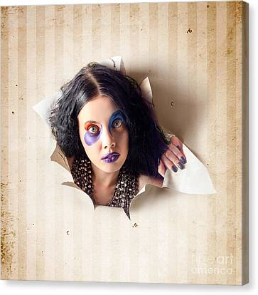 Beautiful Female Jester Breaking Out Of Wallpaper Canvas Print by Jorgo Photography - Wall Art Gallery
