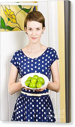 Beautiful Girl Holding Bowl Of Green Limes Canvas Print by Jorgo Photography - Wall Art Gallery