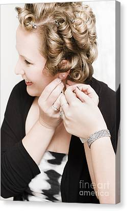 Beautiful Happy Bride Putting On Earrings Canvas Print