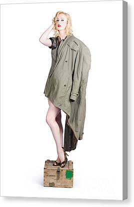 Provocative Canvas Print - Beautiful Military Pinup Girl. Classic Beauty by Jorgo Photography - Wall Art Gallery