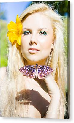 Beautiful Natural Blonde With Butterfly Canvas Print by Jorgo Photography - Wall Art Gallery