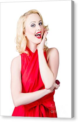 Wavy Canvas Print - Beautiful Pin Up Girl Smiling And Whispering by Jorgo Photography - Wall Art Gallery