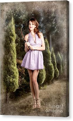 Youthful Canvas Print - Beautiful Retro Maid With Hedge Clippers In Garden by Jorgo Photography - Wall Art Gallery