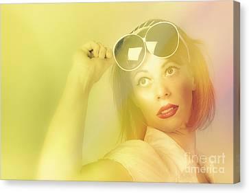Beautiful Retro Pin-up Girl Wearing Futuristic Sunglasses  Canvas Print by Jorgo Photography - Wall Art Gallery