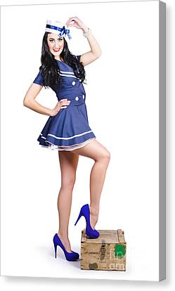 Sexy Brunette Women Canvas Print - Beautiful Vintage Navy Woman. Retro Pinups by Jorgo Photography - Wall Art Gallery