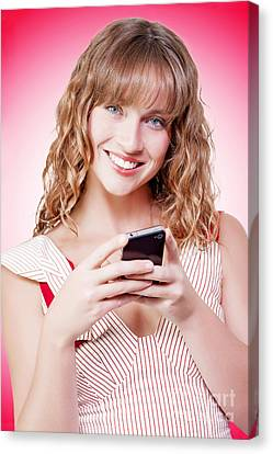 Beautiful Woman Texting On Her Cellphone Canvas Print by Jorgo Photography - Wall Art Gallery