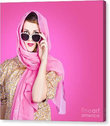 Hidden Face Canvas Print - Beautiful Woman Wearing Pink Headscarf Fashion by Jorgo Photography - Wall Art Gallery