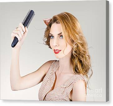 Wavy Canvas Print - Beautiful Woman With Red Hair. Beauty Salon Model by Jorgo Photography - Wall Art Gallery