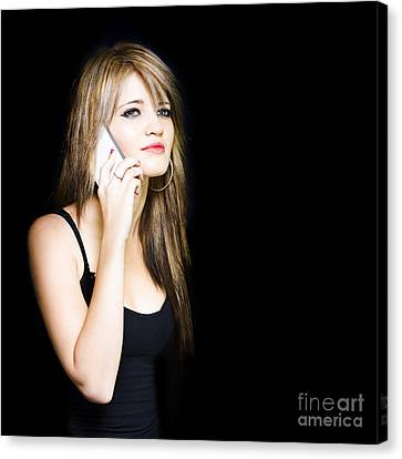 Beautiful Young Woman Communicating On Cell Phone Canvas Print by Jorgo Photography - Wall Art Gallery