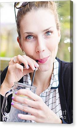 Woman Drinking Canvas Print - Beautiful Young Woman Drinking Cold Glass Of Water by Jorgo Photography - Wall Art Gallery