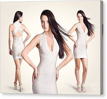 Hairstyle Canvas Print - Beautiful Young Women Standing In Trendy Fashion by Jorgo Photography - Wall Art Gallery