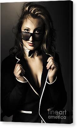 Beauty Woman Posing In Formal Evening Wear Canvas Print