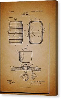 Beer Keg Patent - 1898 Canvas Print