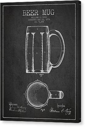 Beer Mug Patent From 1876 - Dark Canvas Print by Aged Pixel