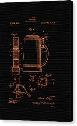 Beer Stein Patent - 1914 Canvas Print by Mountain Dreams