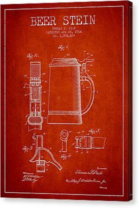 Beer Stein Patent From 1914 - Red Canvas Print by Aged Pixel