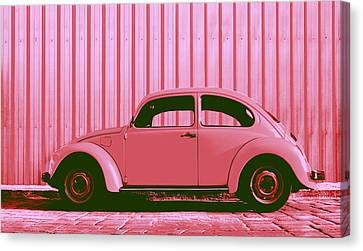 Volkswagon Canvas Print - Beetle Pop Pink by Laura Fasulo
