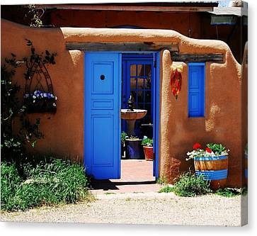Taos Canvas Print - Behind A Blue Door 1 by Mel Steinhauer