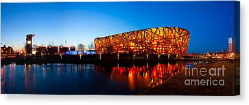 Canvas Print - Beijing National Stadium By Night  The Bird's Nest by Fototrav Print