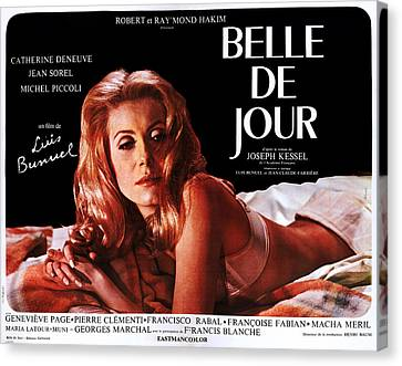 Laying On Stomach Canvas Print - Belle De Jour, Catherine Deneuve by Everett