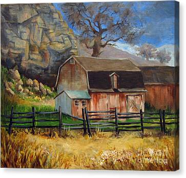 Canvas Print featuring the painting Bellvue Barn by Carol Hart