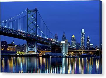 Ben Franklin Bridge At Dusk Canvas Print